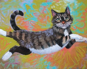 "Large Print- ""She Flies"", cat, calico, fly"