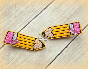 Pencil hair clips Back to school Embroidered Felt Hair Clippies with tiny rhinestone Bows. Pick one or two. Pick Left side or Right.