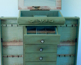 Distressed Green Large Repurposed Jewelry Armoire- Custom Made To Order