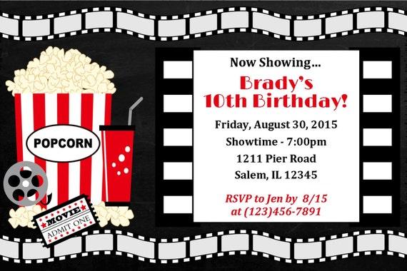 movie night birthday party invitation digital file movie