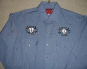Plains Western Shirt Pearl Buttons Ornate With Skulls And Horns Medium Size Blue color