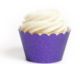 12 Purple Glitter Cupcake Wrappers