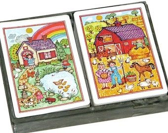 Vintage 80s 90s HALLMARK Set of Two Playing Card Decks w/ Country House & Farm Designs