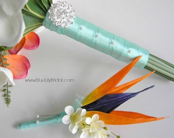 Bird of Paradise Grooms/ Groomsmen Boutonniere  Beach Wedding  Bouquet in Coral, Aqua and Cream