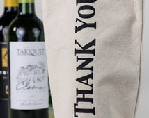 Wine Tote - Recycled Cotton Canvas - Thank You, Grey