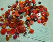Large Goodie bag of assorted Vintage Shades of Red buttons for sewing, doll, victorian by MarlenesAttic