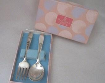 Vintage Samuels Baby Spoon Fork Set Silver Plate In Original Box Rhode Island Jeweler Baby Gift