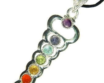 Silver Caduceus 7 Chakra  Faceted Gemstone Accents Pendant Necklace 3382D