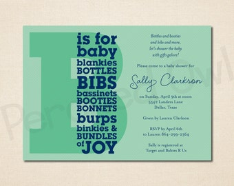 B is for Baby Shower Invitation - New Baby - Announcement - Letter B - Pinstripes - Digital File