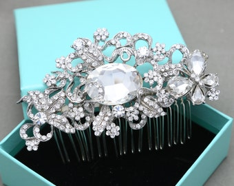 Vintage Style Butterfly Flowers Leaves Bridal Wedding Hair Comb, Large Oval Rhinestone Crystals Hair Comb Alligator Headpiece Fascinator
