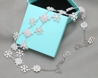Bridal Wedding Bra Strap Halter Jewelry AB Crystal Aurora Borealis Rhinestone Crystals Shoulder Necklace ---- both sides