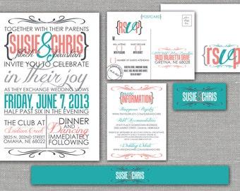 "Printable Wedding Invitation, RSVP, Info card, Monogram with Modern Design - Coral and Teal, Custom design - ""Modern Matrimony"""