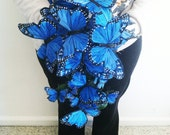 Reserved for Chrissie-Purple/Blue butterfly bouquet with customized handle