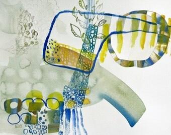 original watercolor abstract landscape art 13 x 11 inch