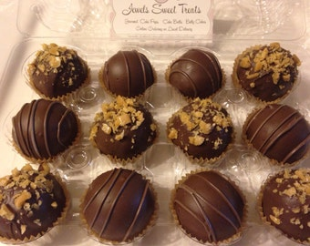 Sugar Free Chocolate Caramel Crunch Rocky Road  Cake Balls Truffle Texture  Gift  Box 1 or any Occasion