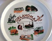 SALE Vintage large tray state of Oklahoma white with graphics 13""