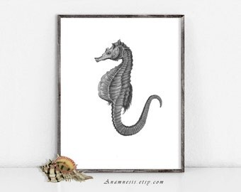 Seahorse Printable - SEAHORSE 02 IN GREY - Instant Download Image - sea life illustration for framing, nursery art, cards, scrapbooking