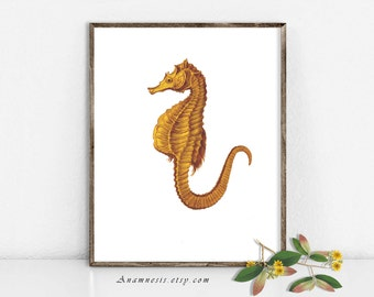 Seahorse Art Print - SEAHORSE 02 IN YELLOW - Instant Download - printable ocean illustration for framing, totes, pillows, bathroom, nursery