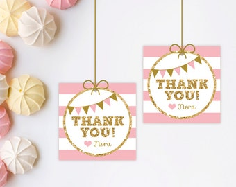 Glitter and pink favor tags - Glitter favor tags - Printable Favor Tags - 1st birthday favor tags - gift tags - thank you tags - birthday