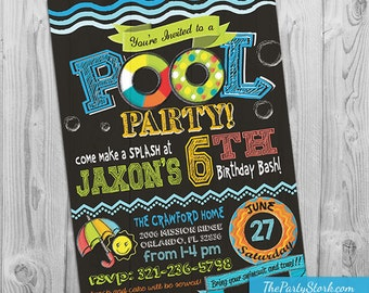 Pool Party Invitation, Pool Party Birthday Invitation, Printable Pool Party Invite, Birthday Invite for Boy or Girl, Kids Pool Party