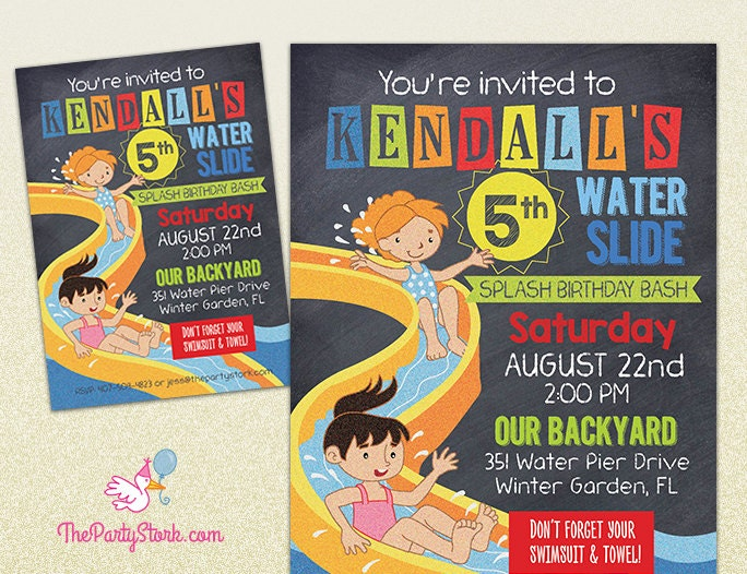 Water Slide Party Invitation Printable Birthday Invite for – Water Slide Party Invitations