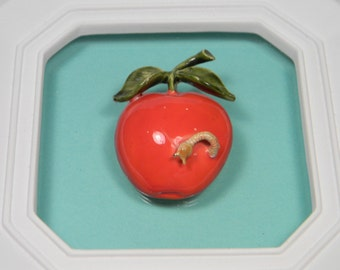 Original by Robert Red Apple Brooch, Vintage, Enamel Figural