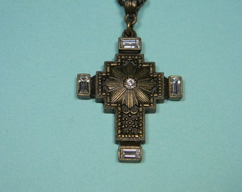 Maltese Cross Necklace or Choker, Bronze Finish 1928 Company,  Clear Accents