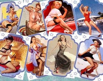 "Pinup Girls from the 50s Instant Download Printable Digital Collage Sheet Vintage Retro Images 300 dpi 2.5""x3.5"" Personal And Commercial Use"