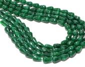 "GU-2787 - Green Jade Emerald Faceted Drops - 10X14mm - Gemstone Beads - Full Strand - 16"""