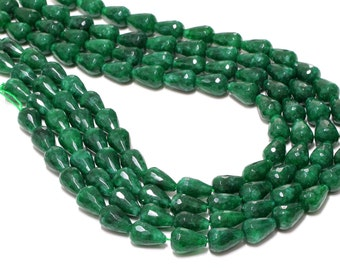 GU-2787 - Green Jade Emerald Faceted Drops - 10X14mm - Gemstone Beads - Full Strand - 16""