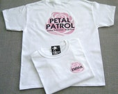 PETAL PATROL (back design) Personalized Pink Rose Flower Girl Wedding T-Shirt
