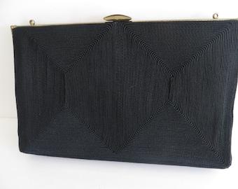 Vintage 40s womens black cloth purse, handbag, evening bag, gold trim,  dressy Hollywood style, by Corde