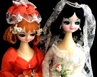 Vintage Big Eyed Dolls Bride and Maid Of Honor