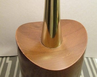 Teak and brass, Retro Lamp, vintage, 1960, 1950, tans, teak base, brass neck, tall slender table lamp