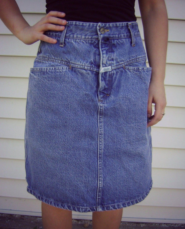 90s girbaud denim skirt vintage knee length by roadkillvintage