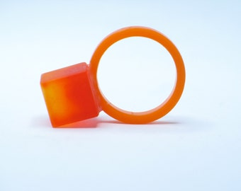 Resin red, orange cube ring. resin jewelry. Modern Jewelry. chunky resin. minimal. clear, ice, contemporary OOAK