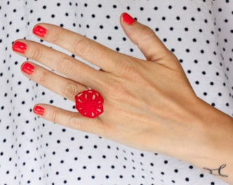 Statement ring, cocktail ring, sea stone ring, crochet ring, red lace ring, one of a kind, ready to ship