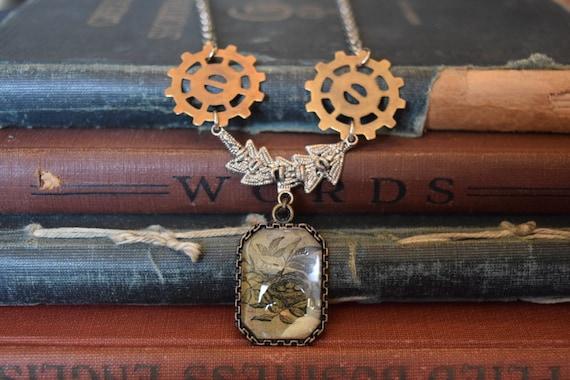 Steampunk Jewelry Steampunk Necklace Shabby Chic Woodland Necklace Spring trends Summer Jewelry Birds Nest Gear Necklace Bird Jewelry