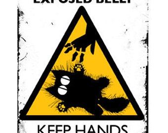 Cat card, funny card: CAUTION Exposed Belly