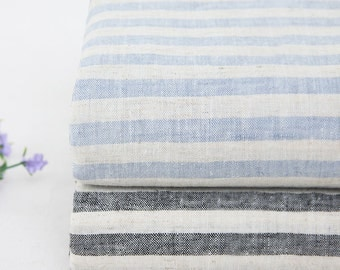Blue Striped Linen Cotton Fabric BD106