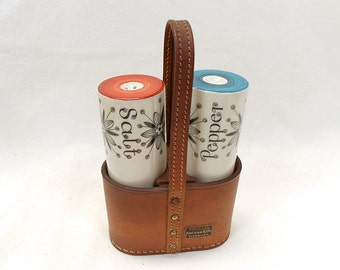 German Vintage Porcelain Salt & Pepper Shakers in Leather Carrier (B157)