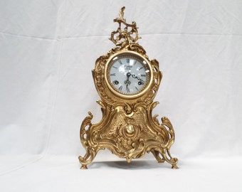 Vintage French Bronze Ormulu Rococo Rocaille clock v403 Free Shipping