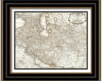MAP of PERSIA Iran Ukraine Iraq in a Vintage Grunge Weathered Antique style