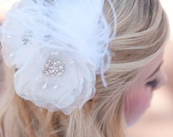 Bridal flower hair clip wedding flower bridal flower  ivory, diamond white, white bridal hair accessories 2 bridal flowers wedding hairclips