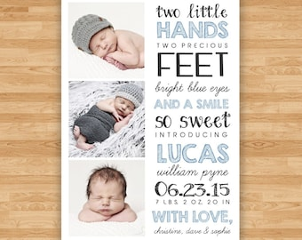 Baby Boy Birth Announcement - Two Little Hands Quote Design - Three Photos - 5x7 Double Sided - Blue, Green, Mint