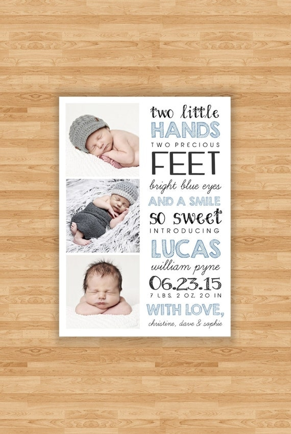 Baby Boy Birth Announcement Two Little Hands Quote Design – Baby Announcements Quotes