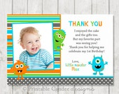 Little Monster Thank you Card Made to match - DIY Printable