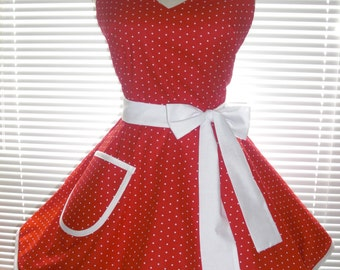 Sweetheart Retro Apron Small White Dots On Bright Red Circular Flirty Skirt