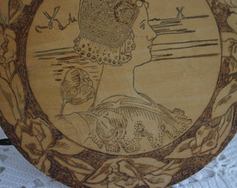 Wood Etching Round Wood Picture of Woman Vintage Picture Bust of Lady Carved Face