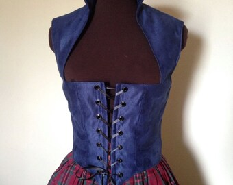 Midnight blue Suede Renaissance Gothic Bodice made to fit you